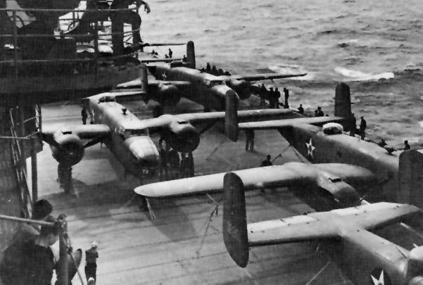 B-25 «Митчел» на борту авианосца «Хорнет». 18 апреля 1942 года.