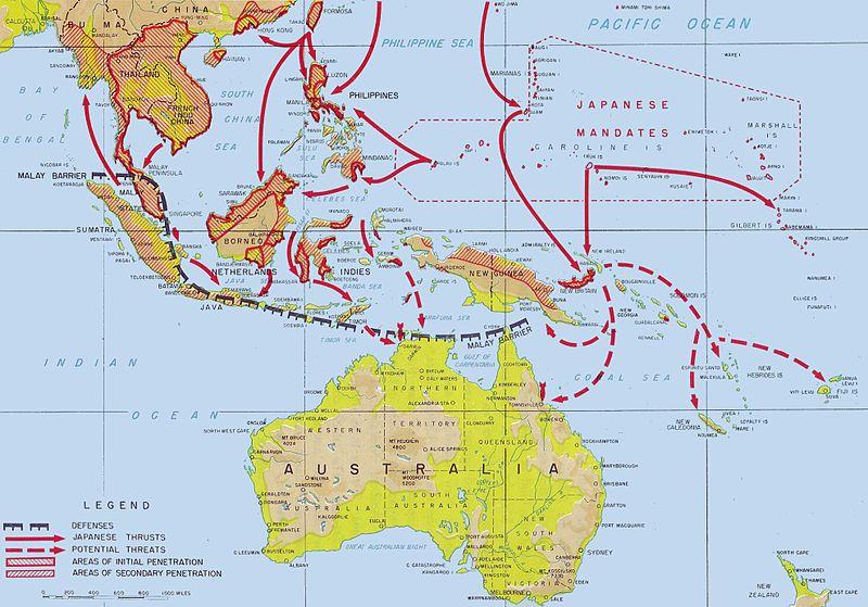 Продвижение японских сил с декабря 1941 по апрель 1942 года.