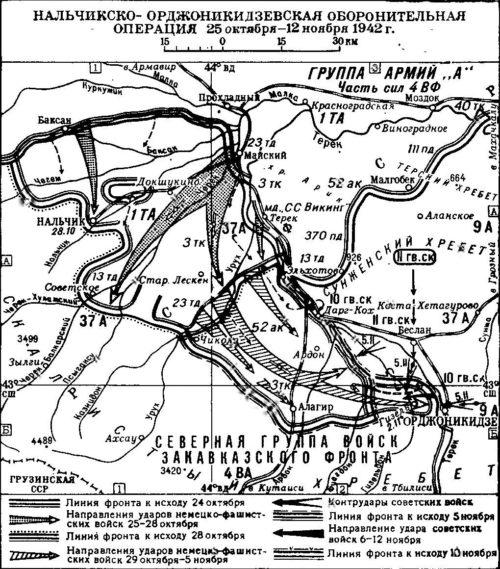 Карта Нальчикско-Орджоникидзевской оборонительной операции.