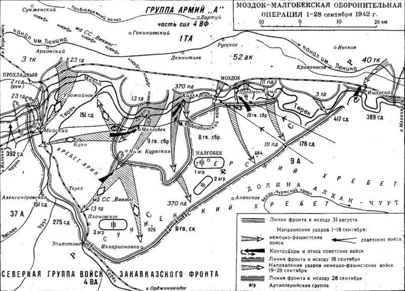 Карта-схема Моздок-Малгобекской оборонительной операции.