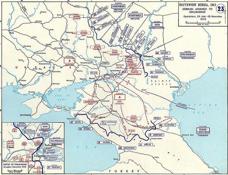 Боевые операции на юге СССР с 24 июля по 18 ноября 1942 года.