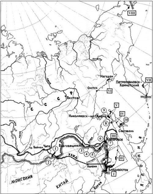 Схема расположения оборонительных районов Тихоокеанского вала.