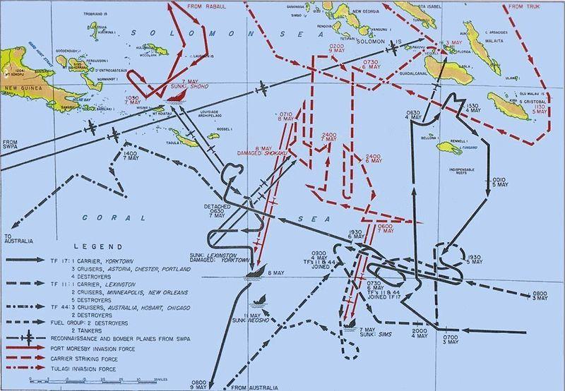 Карта перемещения основных сил 3-9 мая 1942 г. во время сражения.