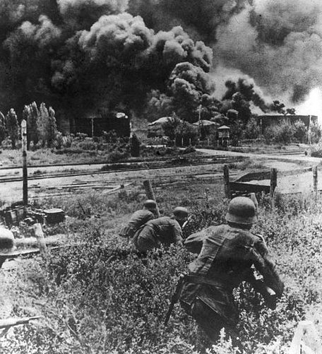 Немецкое наступление в районе Майкопа.