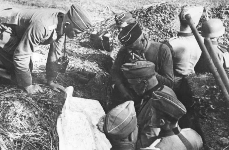Немецкие войска в пригороде. Июль 1941 г.
