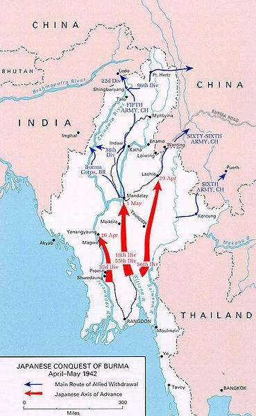 Японское наступление и отступление Союзников.