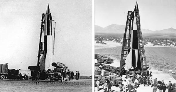 Слева советская ракета Р-1 (1948г.), справа немецкая Фау-2 (1942г.).