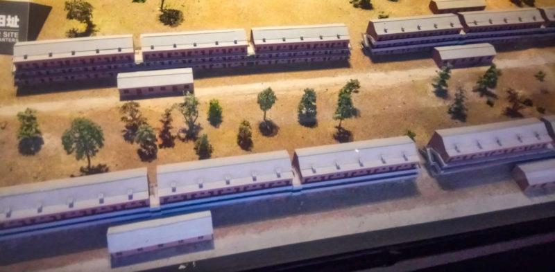 Макет жилых зданий сотрудников лагеря.