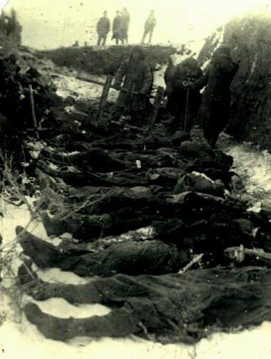 Опознание расстрелянных оккупантами мирных жителей. Январь 1943 г.