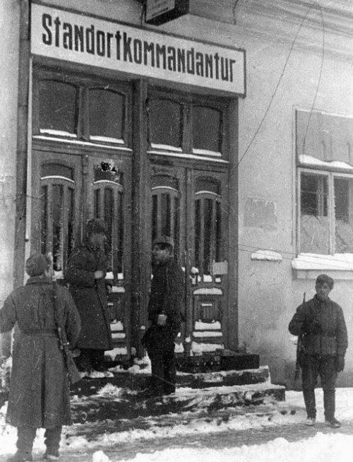 Захваченная немецкая комендатура. Февраль 1944 г.