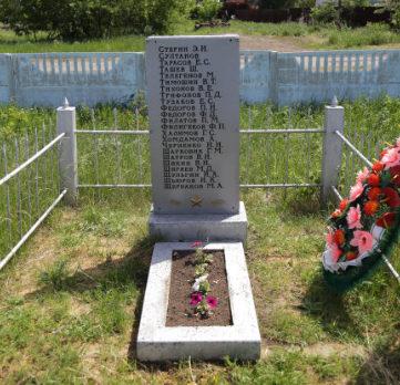 с. Журавлевка Белгородского р-на. Братская могила по улице Ленина 12, в которой похоронено 12 советских воинов, погибших в годы войны.