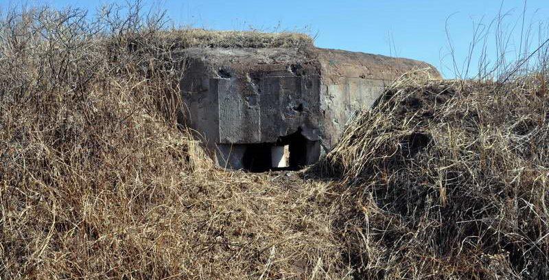 Двухамбразурный ДОТ №204 «Решительный» на острове Русский был построен в 1940 году. Расположен на полуострове Кондратенко на перешейке м. Рогозина. Класс защиты - М-3.