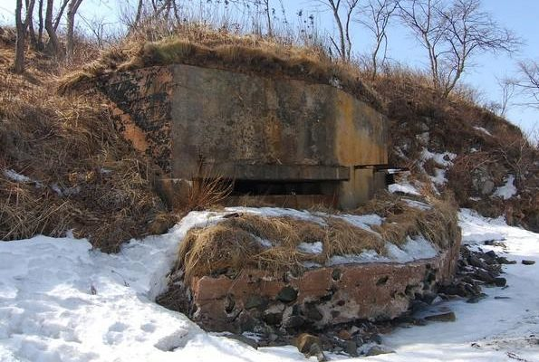 Двухамбразурный каменно-бутовый оштукатуренный ДОТ №214-А был построен в 1941 году. Расположен на северной стороне м. Андреева. Класс защиты - М-3.