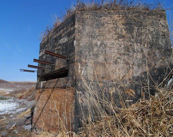 Двухамбразурный каменно-бутовый оштукатуренный ДОТ №217 был построен в 1941 году. Расположен с западной стороны перешейка полуострова Ликандера. Класс защиты - М-3.