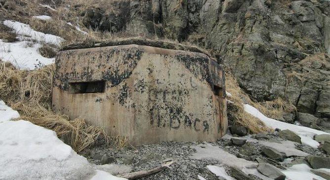 Двухамбразурный ДОТ № 221 на острове Русский был построен в 1941 году. Расположен на мысе Чернявского. Класс защиты - М-3.