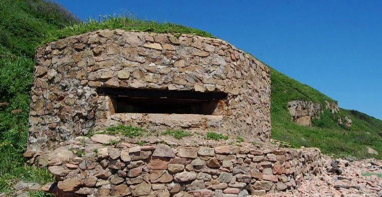 Двухамбразурный каменно-бутовый ДОТ №243 на острове Русский был построен в 1941 году. Класс защиты - М-3.