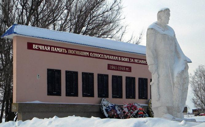с. Верхососна Красногвардейского р-на. Памятник, установленный на братской могиле, в которой похоронено 33 советских воина, в т.ч. 14 неизвестных, погибших в 1943 году.