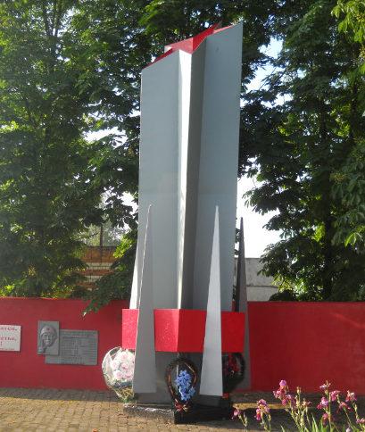 п. Борисовка ул. Коминтерна. Памятник, установленный на братской могиле, в которых похоронено 5 неизвестных советских воинов, погибших в 1943 году.