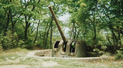 Пушка Б-13-3с в дворике упрощенной конструкции.