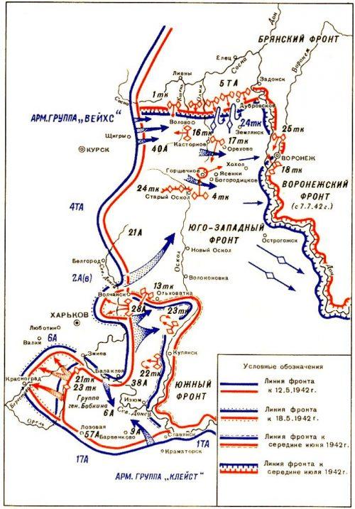 Карта –схема боевых действий на юго-западном направлении в мае-июле 1942 г.