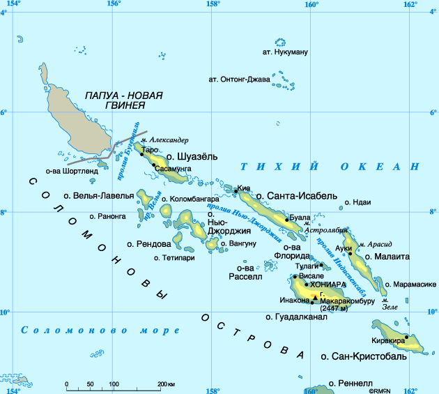 Соломоновы острова на карте.