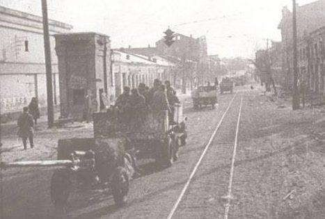 Немецкие войска занимают город. Август 1941 г.