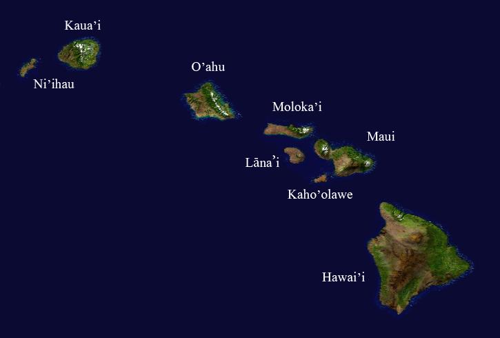 Гавайские острова, принадлежащие США.