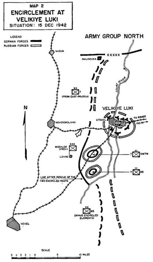 Ситуация на фронте после окружения Великих Лук.