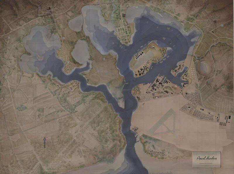 Топографическая карта Перл-Харбора после японской атаки.