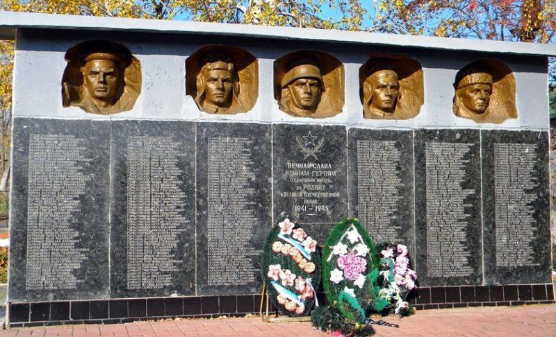 с. Большая Ивановка Новооскольского р-на. Памятник, установленный на братской могиле, в которой похоронено 19 советских воина, погибших в 1943 году.
