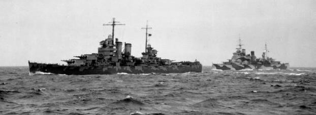 Крейсерское прикрытие конвоя (USS Wichita и HMS London).
