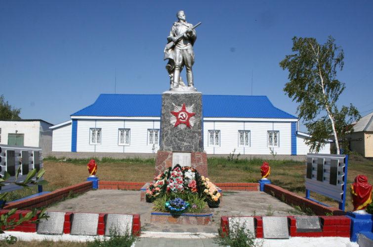 с. Казачок Старооскольского р-на. Памятник по улице Центральной, установленный на братской могиле, в которой похоронено 169 советских воинов, в т.ч. 13 неизвестных, погибший в 1943 году.