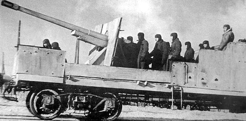 Бронеплощадка бронепоезда «За Родину!». Декабрь 1941 г.