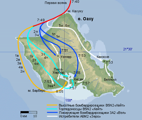 Схема атаки по базе Пёрл-Харбор первой волны японского авиаудара.