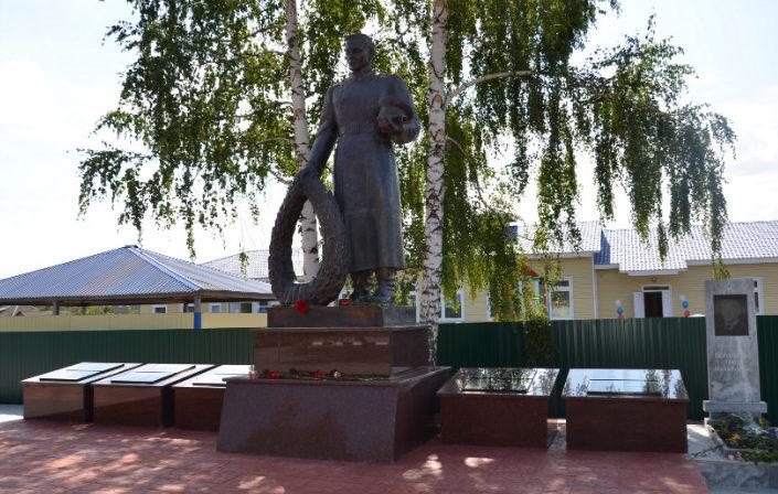 с. Сорокино Старооскольского р-на. Памятник, установленный на братской могиле, в которой похоронено 82 советских воинов, в т.ч. 46 неизвестный, погибших в 1943 году.