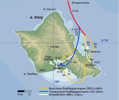 Схема атаки по базе Пёрл-Харбор второй волны японского авиаудара.