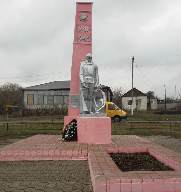 с. Шаталовка Старооскольского р-на. Памятник по улице Береговой 28, установленный на братской могиле, в которой похоронено 400 советских воинов, в т.ч. 376 неизвестных, погибших в 1943 году.