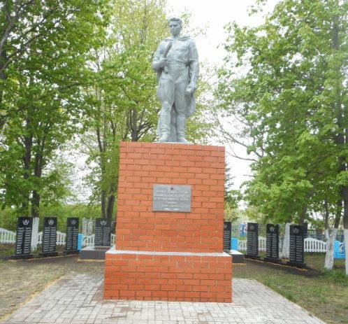 с. Красное Прохоровского р-на. Памятник по улице Луговой, установленный на братской могиле, в которой похоронено 64 советских воинов, погибших в 1943 году.