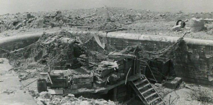 Разбитые орудия и руины батареи, после ее захвата немцами.