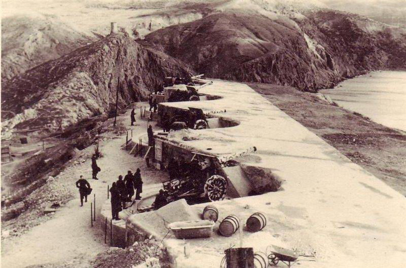 Позиции батареи в 1930-х годах.