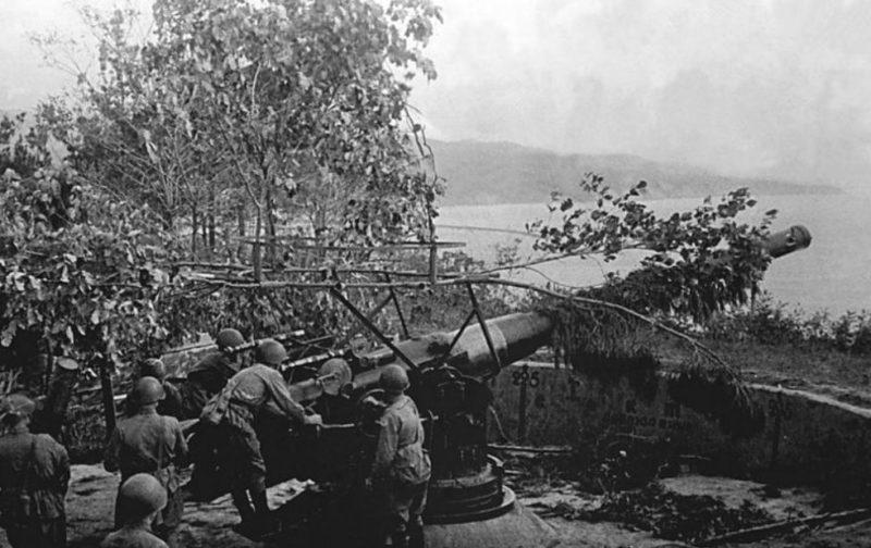 Орудие батареи в годы войны.