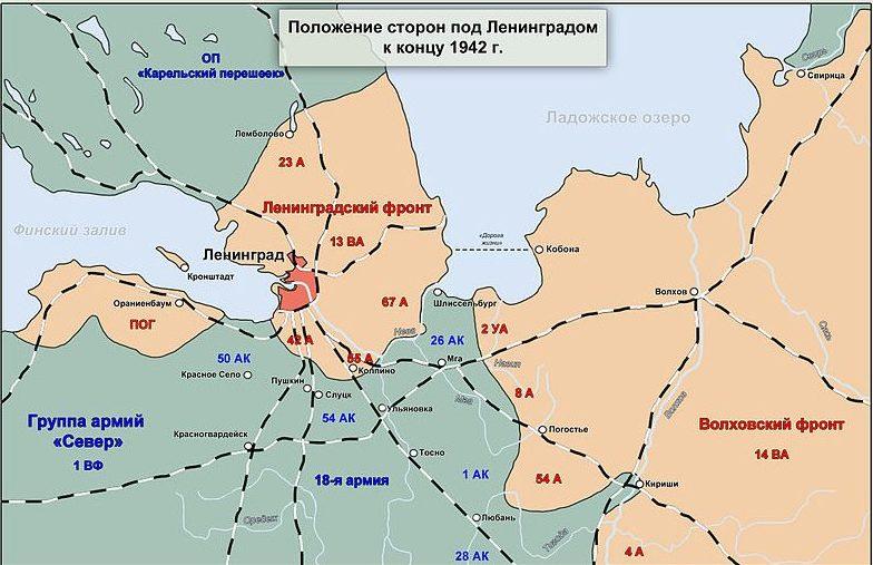 Карта–схема положение под Ленинградом к концу 1942 г.