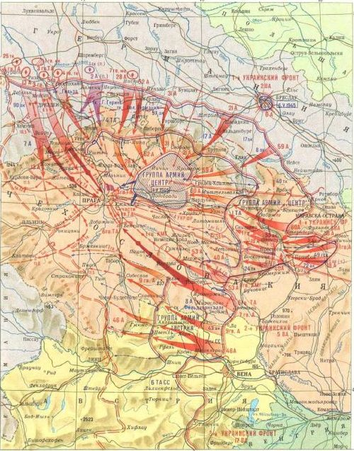 Карта-схема Пражской наступательной операции.