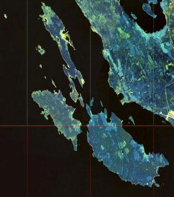 Березовые острова (Бьёркский архипелаг) с космоса.