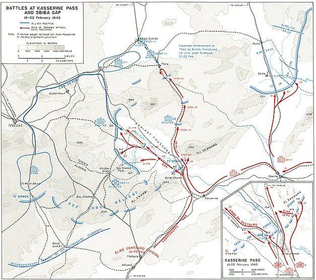 Карта-схема боевых действий на Кассеринском перевале.