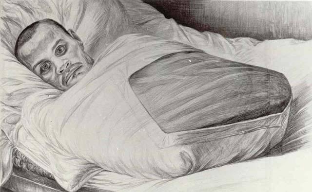 «Неизвестный». Рисунок Геннадия Доброва. Остров Валаам, 1974 г.