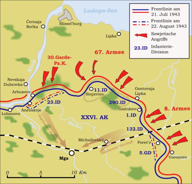 Боевые действия на Мгинском выступе с 21 июля по 22 августа 1943 г.