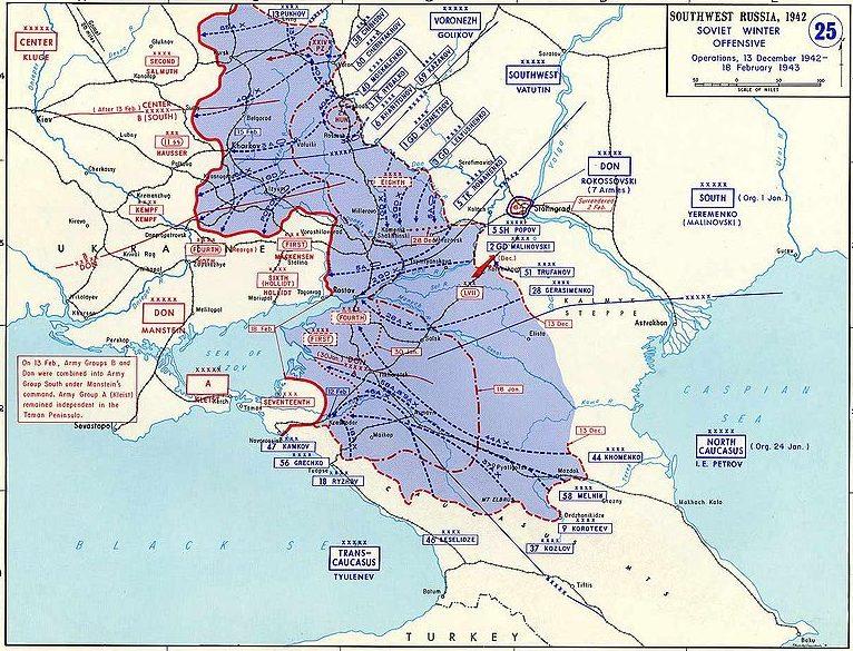 Карта-схема советского наступления 13 декабря 1942 - 13 февраля 1943 года.