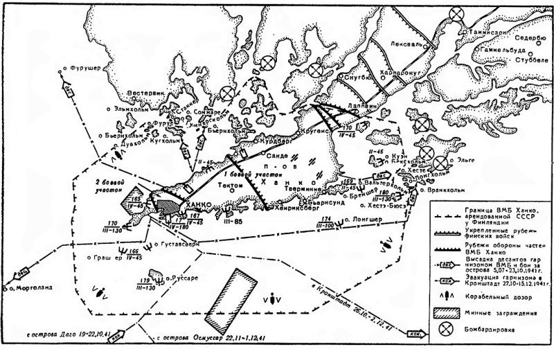 Схема обороны ВМБ Ханко.