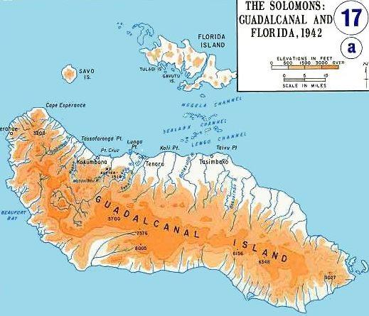 Карта Гуадалканала и близлежащих островов.